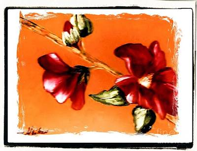 Burnt Digital Art - Magnolia Full Bloom Painting by Marsha Heiken