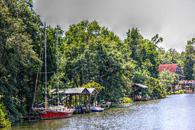 Magnolia River With A Red Sailboat Art Print