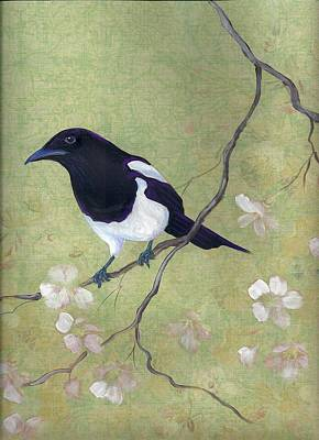 Magpies Mixed Media - Magpie And Dogwood by Laurel Porter-Gaylord