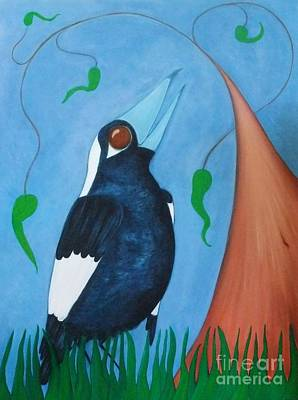 Painting - Magpie Song by Leonie Higgins Noone
