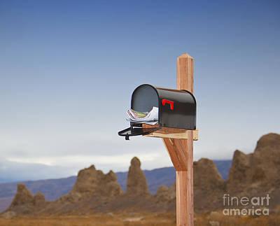 Mailbox In Desert Art Print by David Buffington