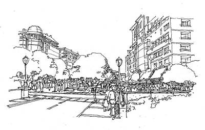 Streetscape Drawing - Main Street by Andrew Drozdowicz