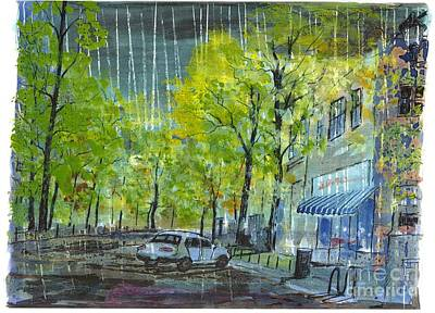 Drug Stores Painting - Main Street Greenville Rain by Patrick Grills