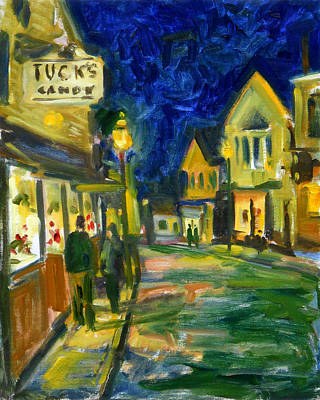 Rockport Painting - Main Street Rockport At Night by Chris Coyne