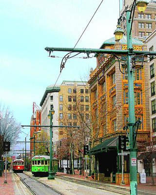 Digital Art - Main Street Trolleys by Lizi Beard-Ward