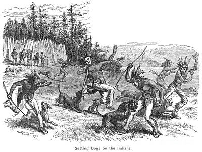 Attack Dog Photograph - Maine: Attacking Native Americans by Granger
