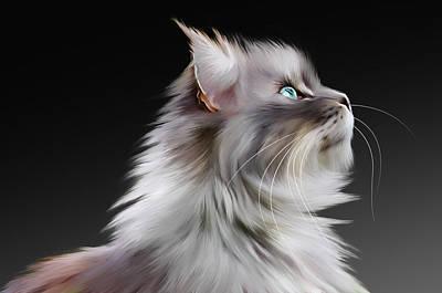 Coon Cat Digital Art - Maine Coon by Julie L Hoddinott