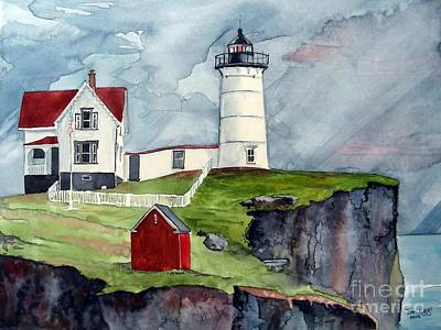 Art Print featuring the painting Maine Lighthouse by Tom Riggs