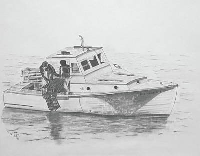 Painting - Maine Lobster Boat by Alan Mager