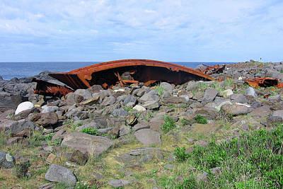 Photograph - Maine Shipwreck by J R Baldini