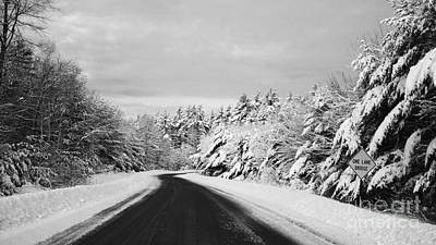 Maine Winter Backroad - One Lane Bridge Art Print