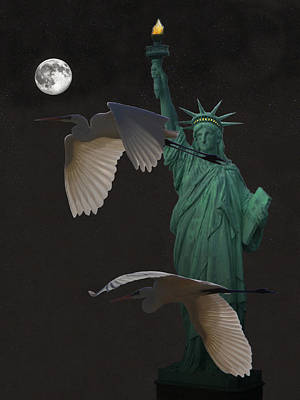 Statue Of Liberty Mixed Media - Majestic Great Egrets by Eric Kempson