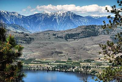 Abstract Beach Landscape Digital Art - Majestic Mountains Overlook Osoyoos by Don Mann