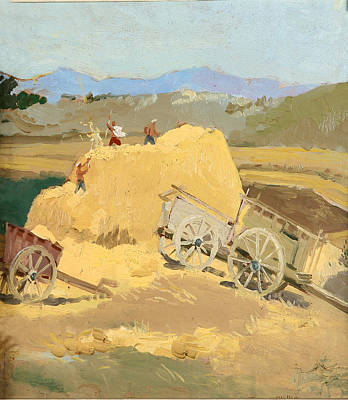 Pasture Painting - Making Hay Stacks by Ylli Haruni