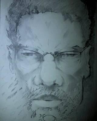 Malcolm X Drawing - Malcolm X by Eligh Burton