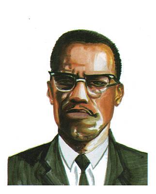 Hajj Painting - Malcolm X by Emmanuel Baliyanga