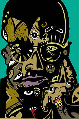 Blackart Digital Art - Malcolm X Full Color by Kamoni Khem