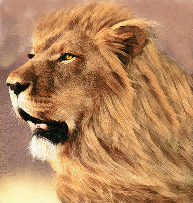 Digital Art - Male African Lion by Walter Colvin