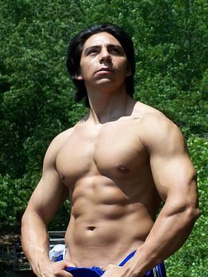 Male Latino Muscle Art Print by Jake Hartz
