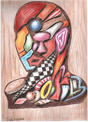 Male Portrait  Abstract Art Print by Safa Al-Rubaye