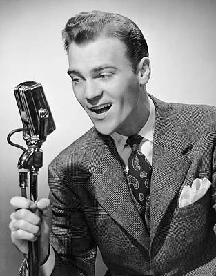 Male Singer Holding Microphone Art Print by George Marks