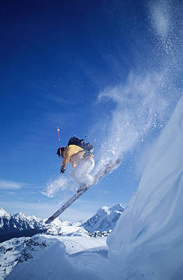 Male Skier Jumping Cornice Art Print