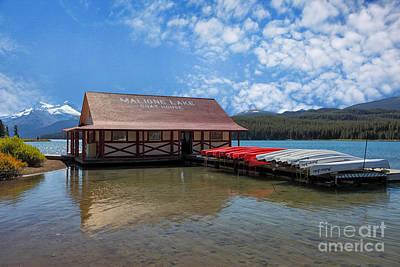 Maligne Lake Boat House Art Print