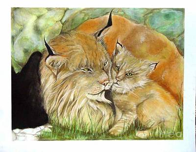 Mama And Baby Lynx Art Print by Sandra Valentini
