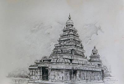 Tamilnadu Painting - Mamallapuram - Sea Sore Temple Of Tamilnadu India by Seni