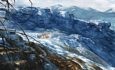 Mammoth Spring Painting - Mammoth Hot Springs by Alyssa Parsons
