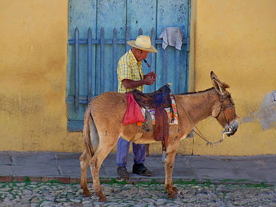 Art Print featuring the photograph Man And A Donkey by Lynn Bolt