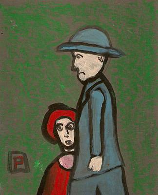 Shipping Mixed Media - Man And Child by Peter  McPartlin