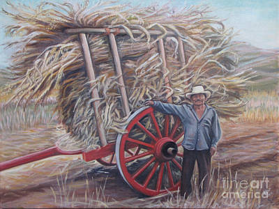 Man And Red Cart Art Print by Judith Zur