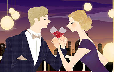 Bonding Digital Art - Man And Woman Toasting With Glasses Of Red Wine At Dining Table by Eastnine Inc.
