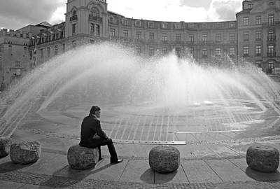 Photograph - Man At Stachusbrunnen In Munich by Robert Meyers-Lussier