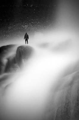 Man At Waterfall Art Print by Micael  Carlsson