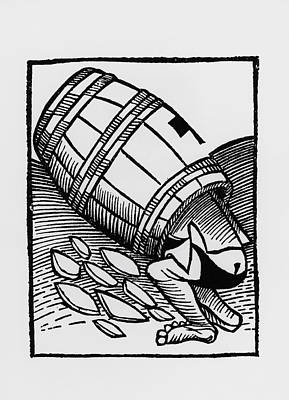 Wine Barrel Photograph - Man Collecting Tartar From A Empty Wine Barrel by