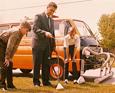 Man Demonstrates Lawn Tool To Boys, 1960s Art Print by Archive Holdings Inc.
