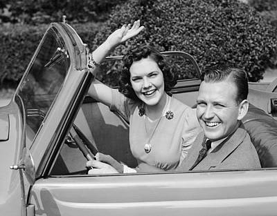 Man Driving Car And Woman Waving Art Print by George Marks