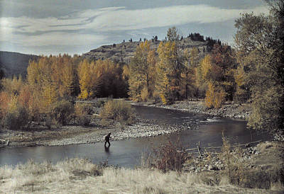 Man Fishes For Trout In The Naches Print by Clifton R Adams