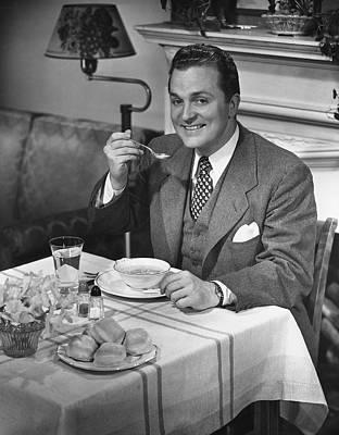 Man Having Dinner Art Print by George Marks