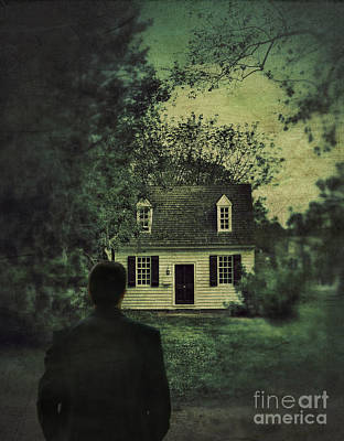 Man In Front Of Cottage Art Print by Jill Battaglia