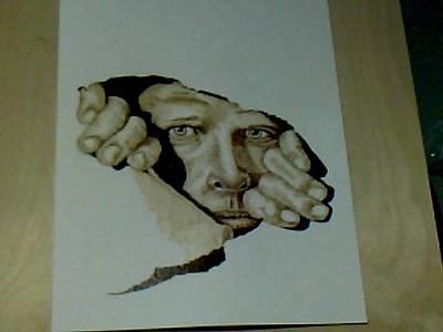 David Gray Pyrography - Man In The Wall by David Gray