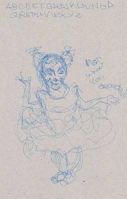 Primitive Drawing - Man In Tutu by Catherine Carr