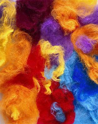 Fibre Art Photograph - Man Made Coloured Fibres by Mark Sykes