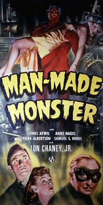 Man Made Monster, Lon Chaney, Jr., Top Print by Everett