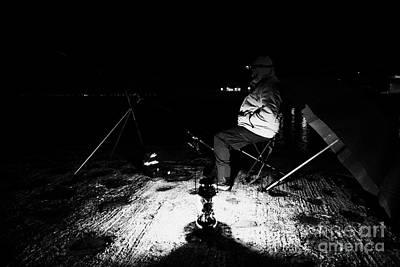 Man Nighttime Fishing Art Print by Joe Fox