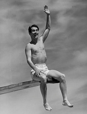 Man On Diving Board Art Print by George Marks