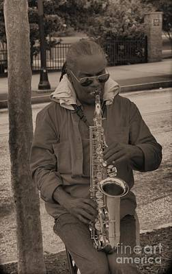 Photograph - Man Playing His Saxophone by Donna Brown