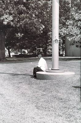 Man Resting At Pole Art Print by Floyd Smith